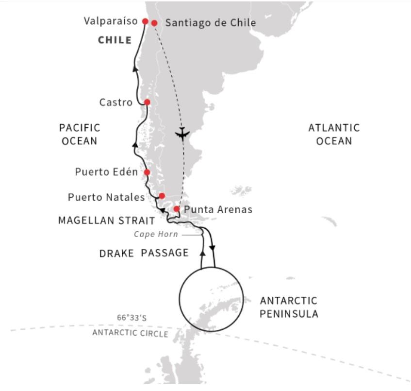 Hurtigruten-Patagonia-to-Antarctica-expedition-tour-map