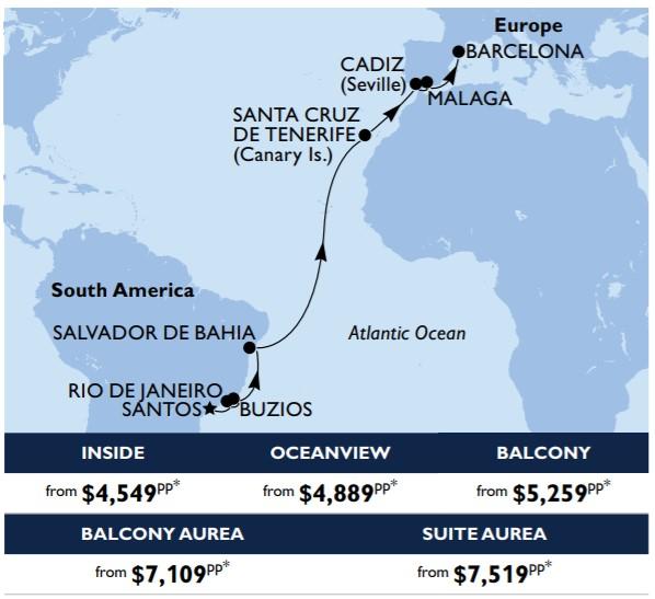 MSC CRUISES 18nt Brazilian Beauty Spanish Splendours cruise itinerary & pricing