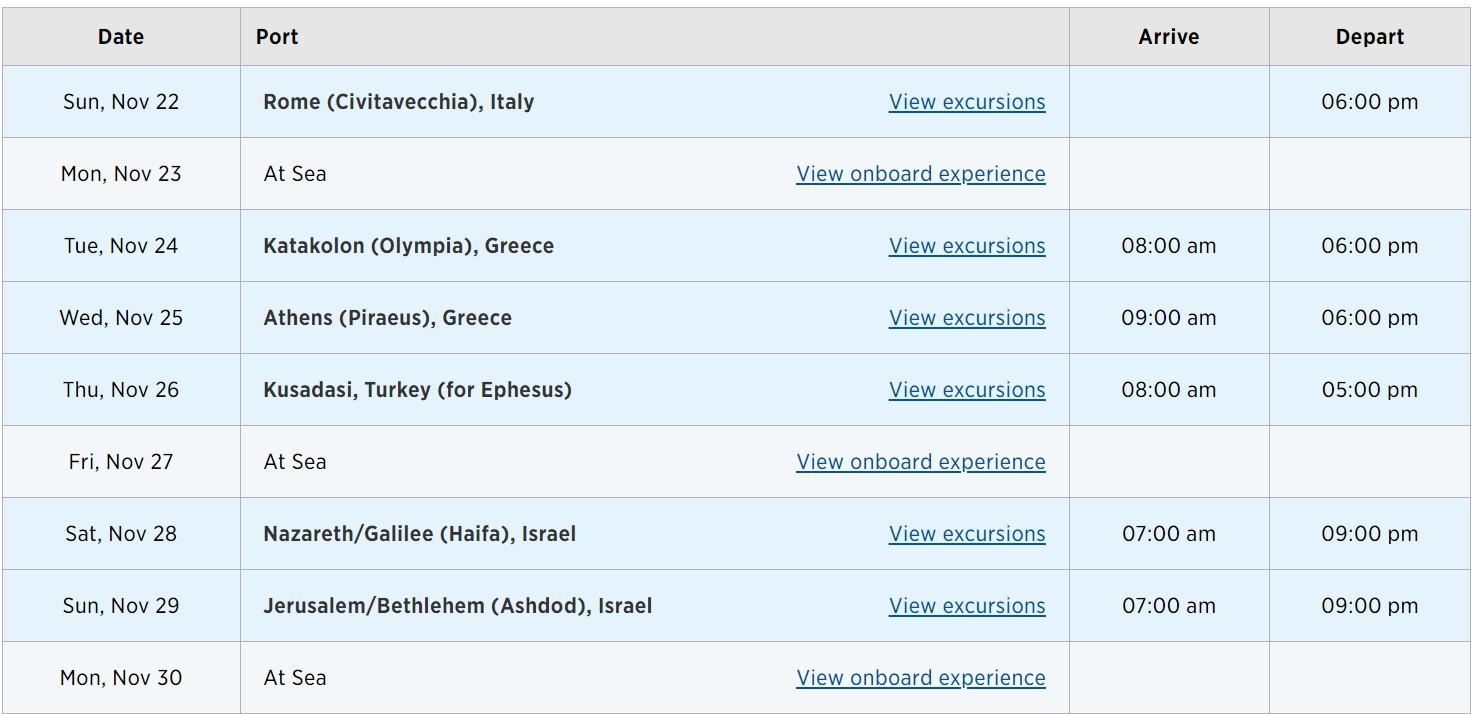 Princess Mediterranean & Israel cruise itinerary pg1
