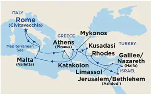 Princess Cruise Mediterranean & Israel cruise map