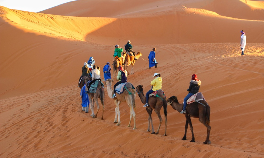 caravan-camel-riding-sand-dunes-golden-sands-sahara-desert